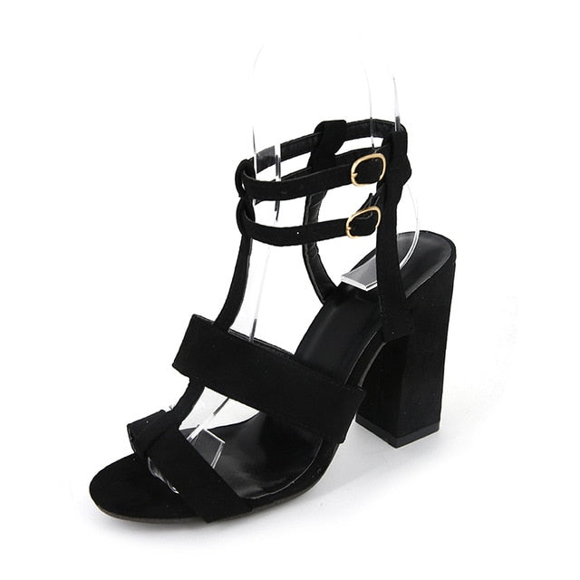 Spring Women Pumps Black Suede Fabric Cross Strap Platform High Thick Heel Hollow Sandals Ladies Shoes Wedding Lace Up Open Toe