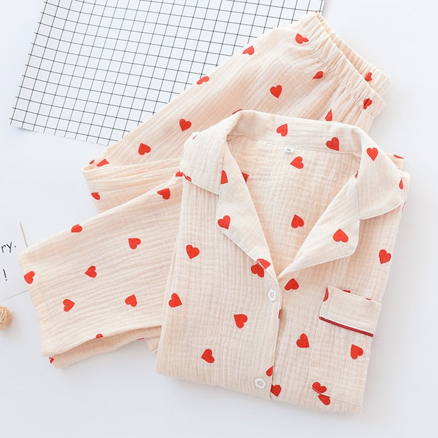 Autumn Women Pajama Set Long Sleeve Cute Sleepwear Cotton Pijama Mujer Invierno Loungewear Night Suits Ladies Kawaii Home Wear