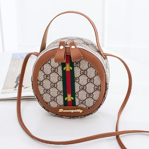 Women PU Leathe small bags GD printed shoulder bag messenger bag color matching round bag Ladies Small Handbags Mini Tote Bag