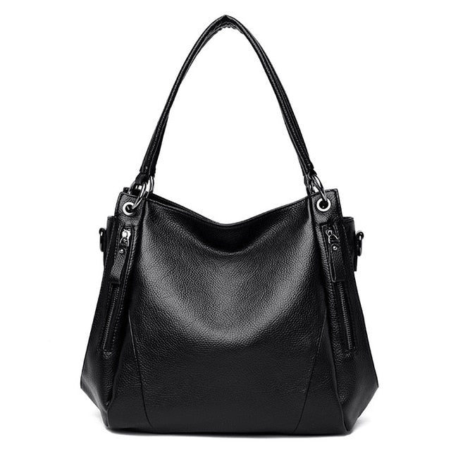 Winter Black Women Handbag Female Shoulder Bags Large Capacity Quality Genuine Cow Leather Casual Totes Bag Ladies Bucket Bags