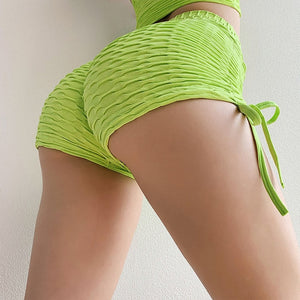 SALSPOR Summer Shorts Yoga Women Standard Sexy Bandage Hotpants Fold Push Up Sport Shorts For Women Running Fitness Gym Shorts