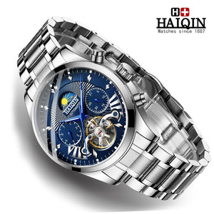 New HAIQIN Mens Watches Top Brand Luxury Mechanical Wristwatch Watch Men Automatic Waterproof Business Clock relojes hombre 2019