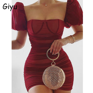 Giyu Sexy Club Party Dress Women 2020 Summer Satin Mesh Ruched Bodycon Mini Dresses Elegant Puff Sleeve Backless Vestidos Pink