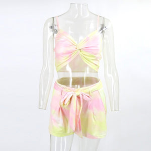 Itsroya 2020 Bandage Crop And Top Spaghetti Strap Fashion Print Hollow Out Short two piece set Beach Wear Sexy playsuit women