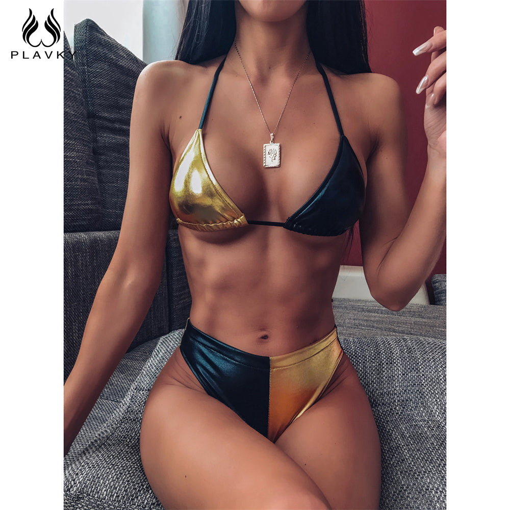 Sexy Metallic Patchwork Leather String Bikini High Cut Leg Halter Triangle 2020 Swimsuit Women Swimwear Wear Swim Bath Suit