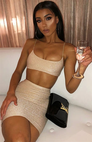 Townlike Glitter Backless Sexy Two Piece Set Spaghetti Strap Crop Top And Mini Skirts 2020 Summer 2 Piece Set Women Outfits