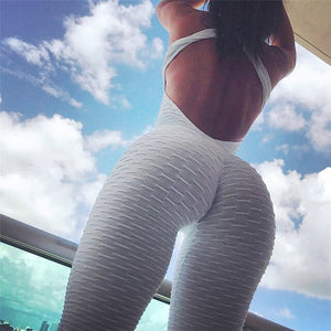 Black Backless Sexy Rompers Jumpsuit Women Summer 2020 Fitness Jumpsuits Push Up Bodysuit Trousers Anti Cellulite Leggings Tight