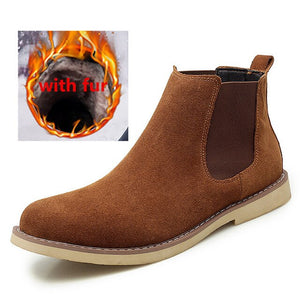 Fashion outdoor Chelsea Boots Men Suede Leather Luxury Men Ankle Boots Original men Shorts Casual Shoes British Style Winter