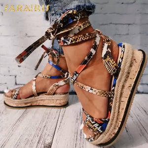 Sarairis Wedges heels Fashion 2020 Big Size 43 Wholesale Shoelaces Snake Printed Summer INS Hot Shoes Women Sandals
