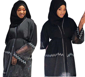 New style African Dashiki abaya fashion Hot drill net fabric stretch With scarf long dress size XXL XXXL