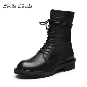 Smile Circle Winter Short Boots Genuine Leather Women shoes 2019 Fashion Keep warm Round toe Comfortable Boots Ladies