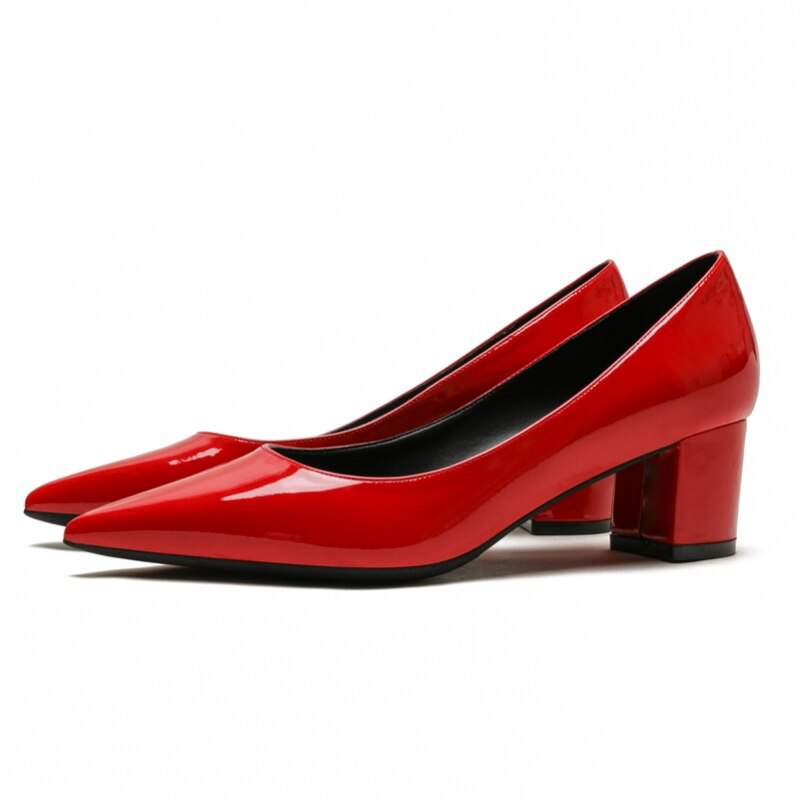 Pointed Toe Big Size 34-43 Squar Heels Sexy Red Women's Pumps Elegant Office Lady High Heeled Spring Party Woman Shoes C0062