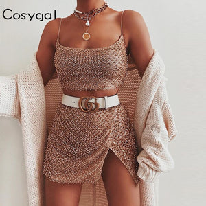 COSYGAL Spaghetti Strap Shiny Sequined Club Outfits Sexy 2 Piece Set Women Pearls Tops And Skirts Set Night Party Two Piece Set