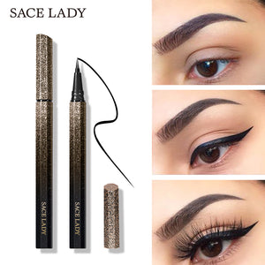 SACE LADY Black Waterproof Liquid Eyeliner Pencil Quick Dry Long Lasting Matte Eye liner Smudge-Proof Cosmetic Beauty Makeup