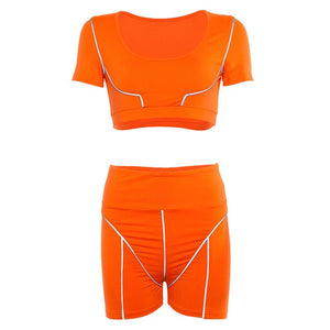 New Women Reflective Two Pieces Set 2020 Summer Short Sleeve Strapless Crop Top Reflective Striped Patchwork Shorts Outfits