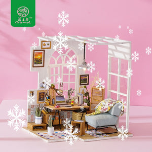 Robotime DIY Miniature Doll House with Furniture Toys for Children Wood Dollhouse Doll Accessories Girl's Gifts SOHO Time DGM01