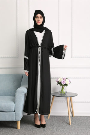 Dubai Turkish Islamic Clothing Turkey Saudi Arabia Open Black Muslim Abaya Kimono Cardigan Hijab Dress Abayas For Women Kaftan
