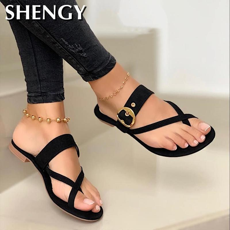 2020 Women Summer Slippers Fashion Buckle Flip Flops Slippers Solid Women Shoes Casual Flats Beach Ladies Plus Size