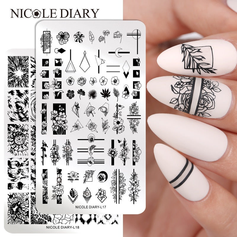 NICOLE DIARY Flowers Pattern Nail Stamping Plates Image Painting Nail Art Stencils Template  Nail Stamp Tools