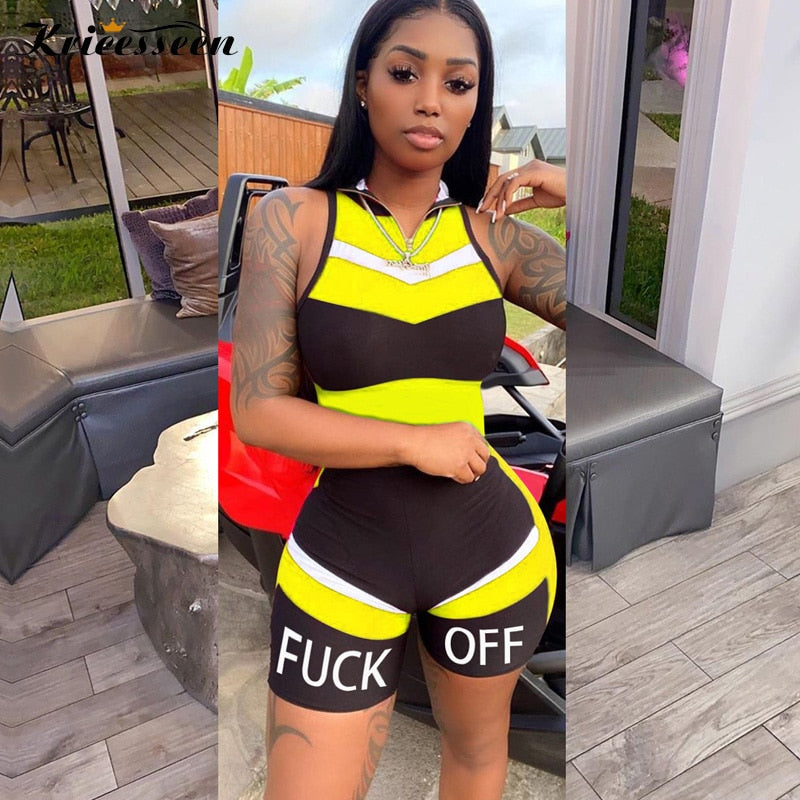 Kricesseen Sexy Summer Letter Patchwork Short Jumpsuit Women Stretchy Skinny One Piece Romper Overalls Sleeveless Playsuit