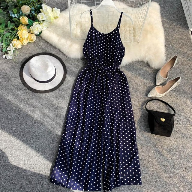 Dot Print Jumpsuit Bodysuits Women Sexy Party Playsuit Summer Female Long Trousers Romper Casual Beach Wide Leg Jumpsuit Ladies
