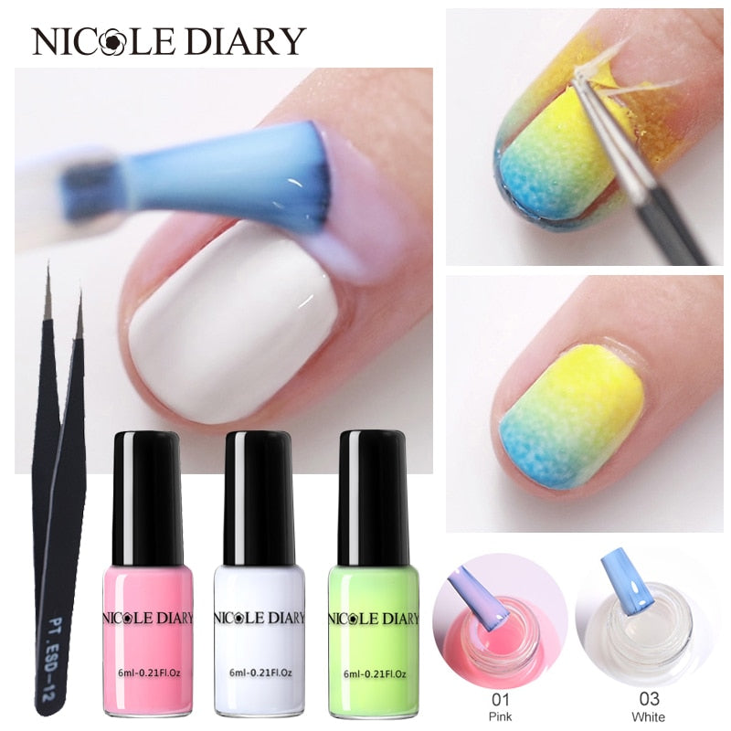 NICOLE DIARY Peel Off Liquid Tape Form Nail Polish Protection Finger Skin Cream Whit Latex Protected Glue Easy Clean Nail Polish