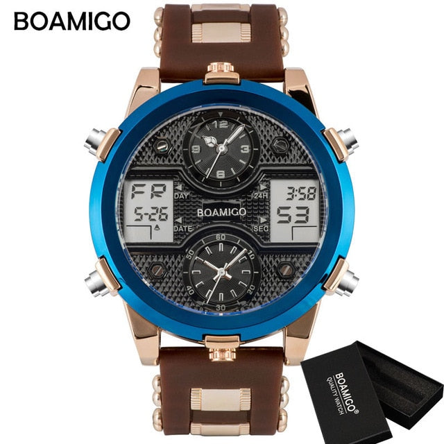 BOAMIGO Mens Watches Top Luxury Brand Men Sports Watches Men's Quartz LED Digital 3 Clock man Male Wrist Watch relogio masculino