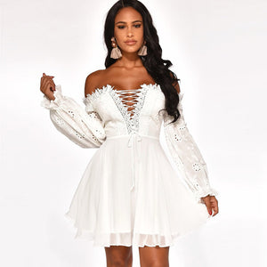 Feditch Off Shoulder Lace Dress Women Hollow Out Long Lantern Sleeve Mini White Dress Elegant Party Dress Sexy Summer Dress 2020