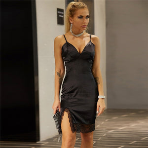 Feditch Deep V Neck Black Dress Women Spaghetti Straps Birthday Party Bodycon Short Summer Dresses Lace Patchwork Satin Dress