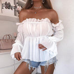 Feditch Fashion Women Strapless White Crop Top Ruffles Off Shoulder Tank Elegant Long Sleeve Party Club Shirts Female Streetwear