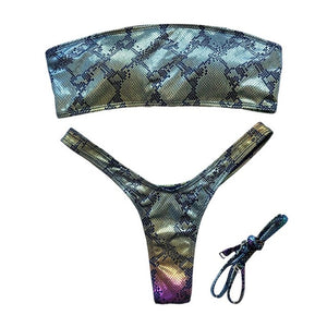 Women Sexy 2 Piece Bikini Set Shiny Metallic Rainbow Snakeskin Swimsuit Detachable Straps Bandeau Thongs Bathing Suit