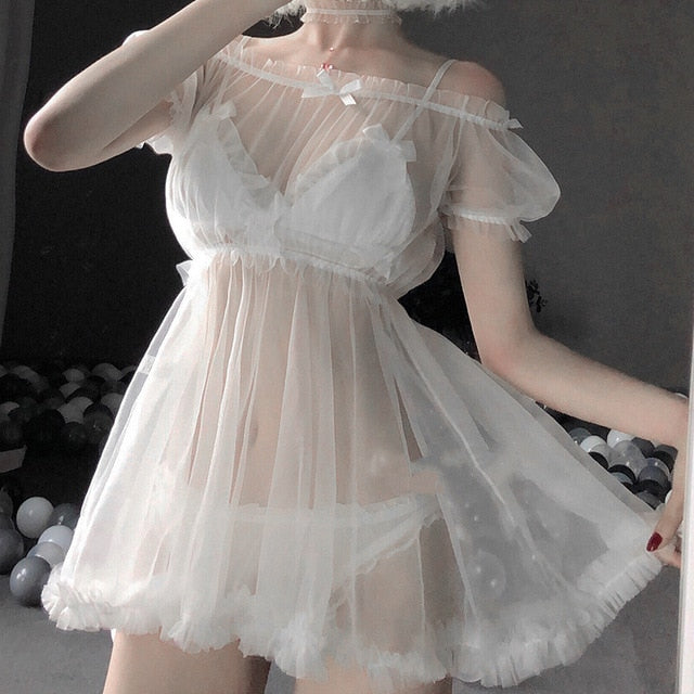 Sexy Lingerie White Night Dress Perspective Out Lace Sleepwear Female Temptation Women's Nightwear Sleeping Dress