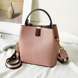 Lovely Pink Bucket Bag High Quality 100% Real Leather Women's Shouder Bag 2 Straps Crossbody Bag Chic Ladies Hand Bag
