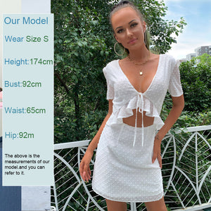 Feditch Summer White Short Dress Women 2020 Ruffles V Neck Short Sleeves Bandage Backless Dress Night Club Party Female Vestidos