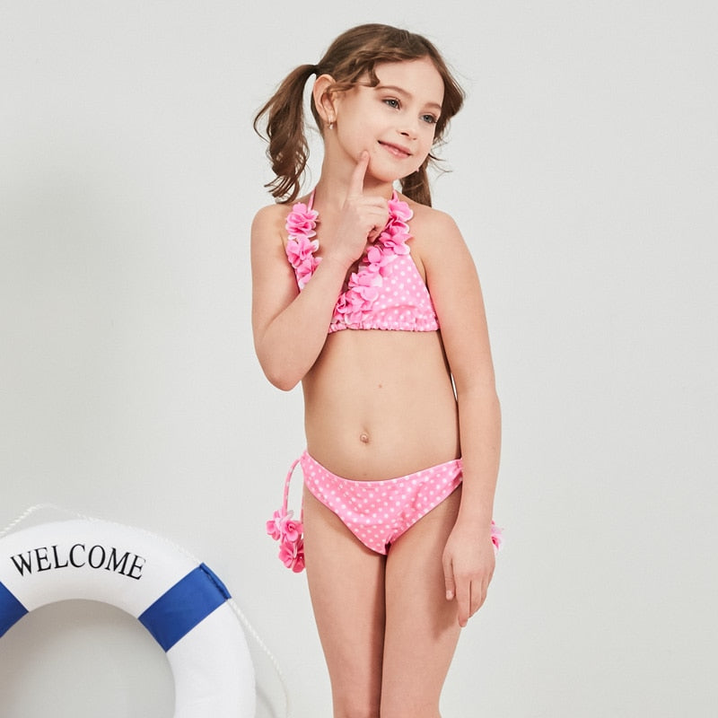 2019 New Baby Girl's Swimsuit Kid Bikini Swimwear Children Pretty Flower Top Halter Dot Swimsuit for Girl Beachwear