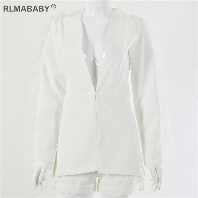 RLMABABY White Mesh Ruffles Blazer and Shorts Suit Set Deep V Neck Long Sleeve 2 Piece Set Women Sexy Set Autumn Winter Set Suit