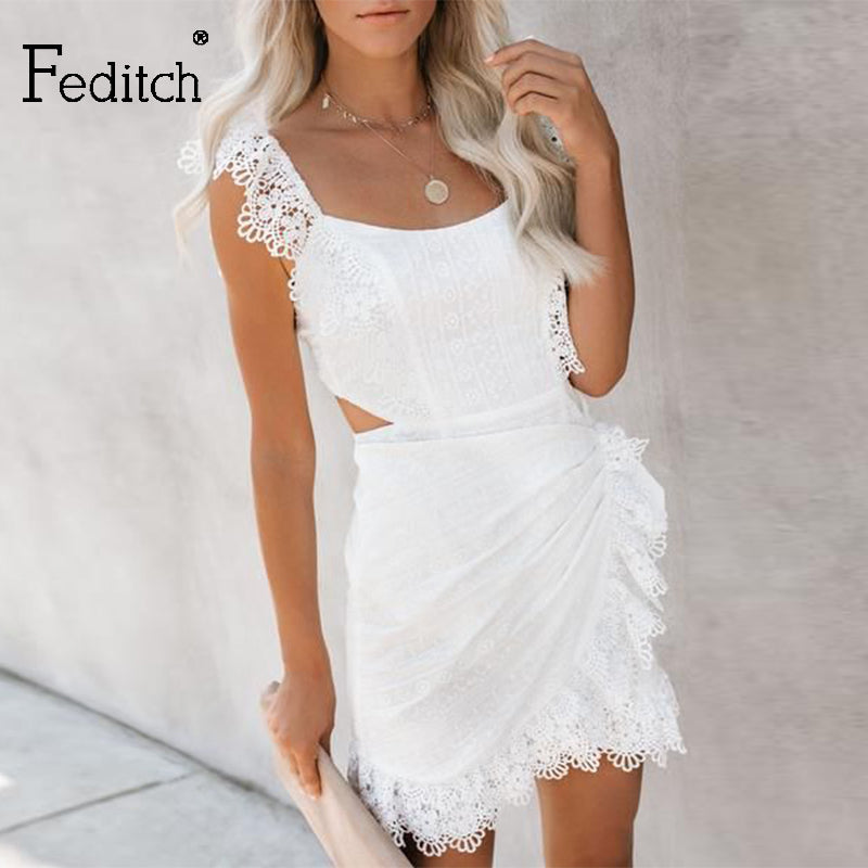 Feditch Ruffled hollow out embroidery women dress backless Bandage summer casual short dress High waist solid ladies sexy dress