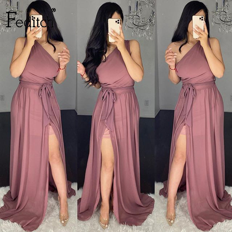 Feditch 2020 One Shoulder Vintage Party Dress Women Maxi Long Dresses Sexy High Split Summer Sleeveless Solid Elegant Dress