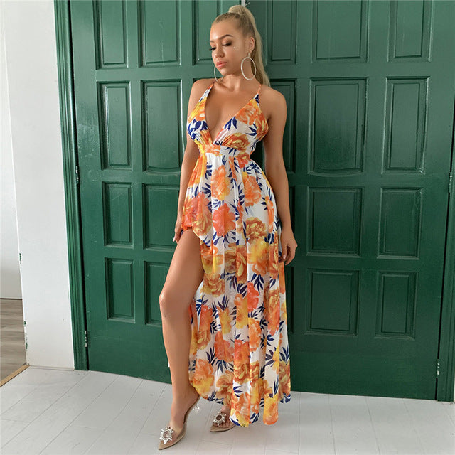 Feditch 2020 Chiffon Sexy Dress Deep V-Neck Floral Print Spaghetti Strap Summer Dress Women Beach Wear Long Dresses Club Vestido