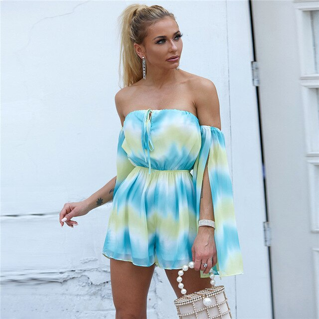 Feditch 2020 Chiffon Sexy Jumpsuit Colorful Strapless Backless Women Playsuit Romper Short Cloak Sleeves Casual Jumpsuit Overall