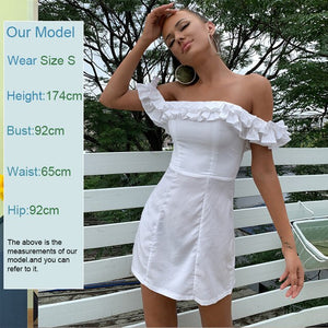 Feditch 2020 Off shoulder strapless White dresses bodycon ruffle pleated Short dress Women Elegant holiday slim beach mini dress