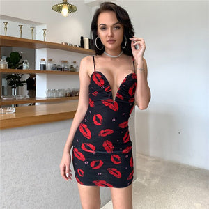 Feditch sexy summer dresses women for 2020 sleeveless v neck floral mini dress Bodycon pleated female party club sexy dress