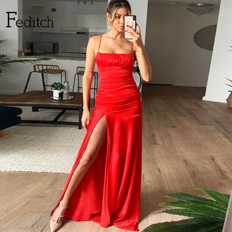 Feditch Sexy Women's Solid Dresses Strap Backless High Split Long Dress Fashion 2020 Vintage Elegant Ladies Party Club Dresses