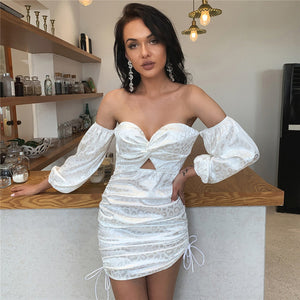 Feditch 2020 Bodycon Ruched Dress Fashion Design Lantern Sleeves Backless Hollow Out Summer Dresses Off Shoulder Dresses Vestido