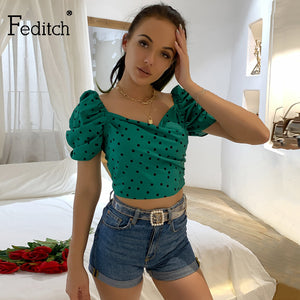 Feditch Casual Polka dot Crop Tops Women Elegant Backless Skinny Tank Top Puff Sleeve Short Summer Tank Camisole Female Shirts