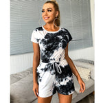 Feditch Tie Dye Print Summer Fashion Bodycon Rompers O-Neck Casual Jumpsuit Playsuit Lace Up Short Sleeve Short Jumpsuit Female