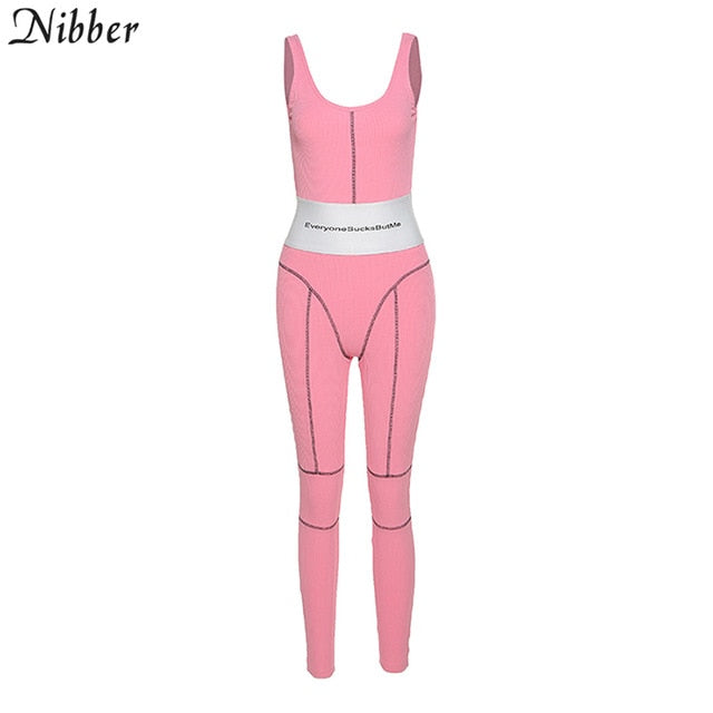 Nibber slim patchwork Stretch fabric sleeveless jumpsuit street high quality casual party romper activity jogging mono mujer