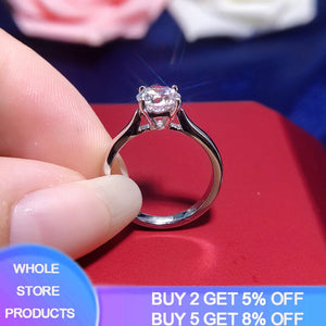 95% OFF! YANHUI With Certificate Silver 925 Ring Real Solid 18K White Gold Pt 2 Carat Lab Diamond Rings Wedding Band Women Gift