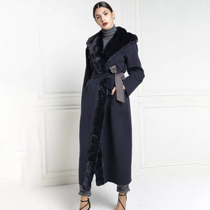 TOPFUR New Gray Nizi Coat With Belt Real Fur Coat Women Winter Nizi With Mink Fur Collar Slim X-Long Clothing Lapel Collar