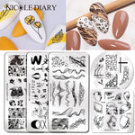 NICOLE DIARY Plant Flower Nail Stamping Plates Geometric Line Wave Pattern Nail Art Image Stamp Stencils Templates Nail Tool